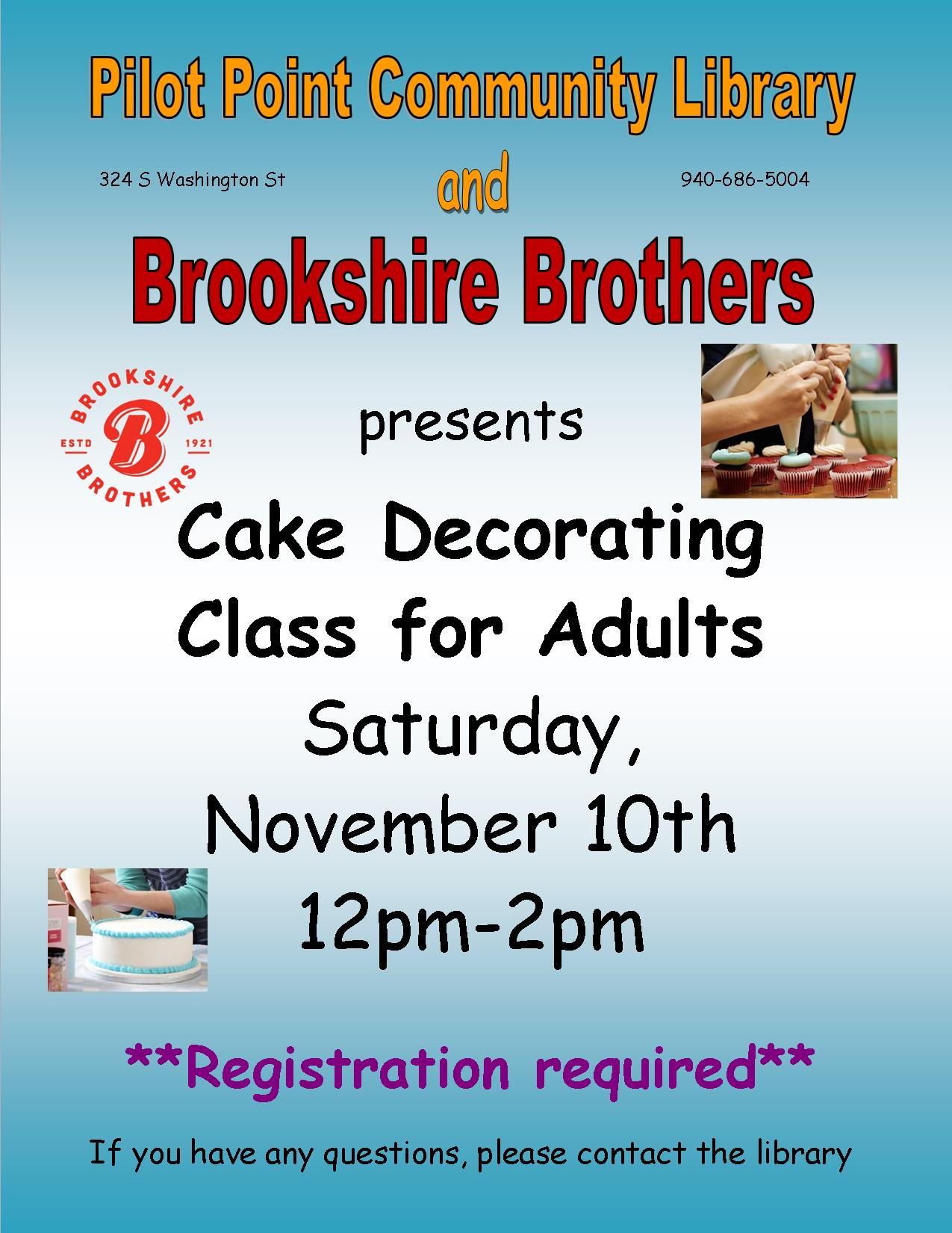 2018 adult cake decorating class