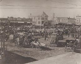 Main street Square in black and white antique photo